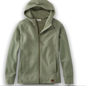 L.L.Bean Quilted Olive Sweater Jacket